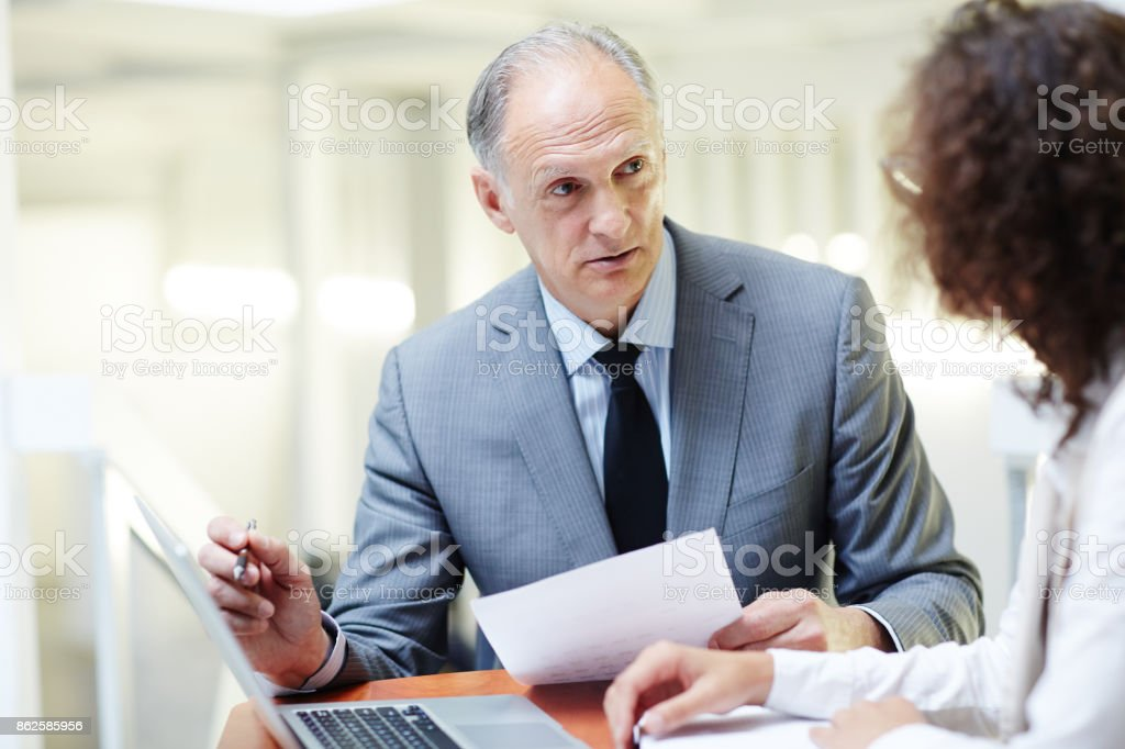 Report of boss stock photo