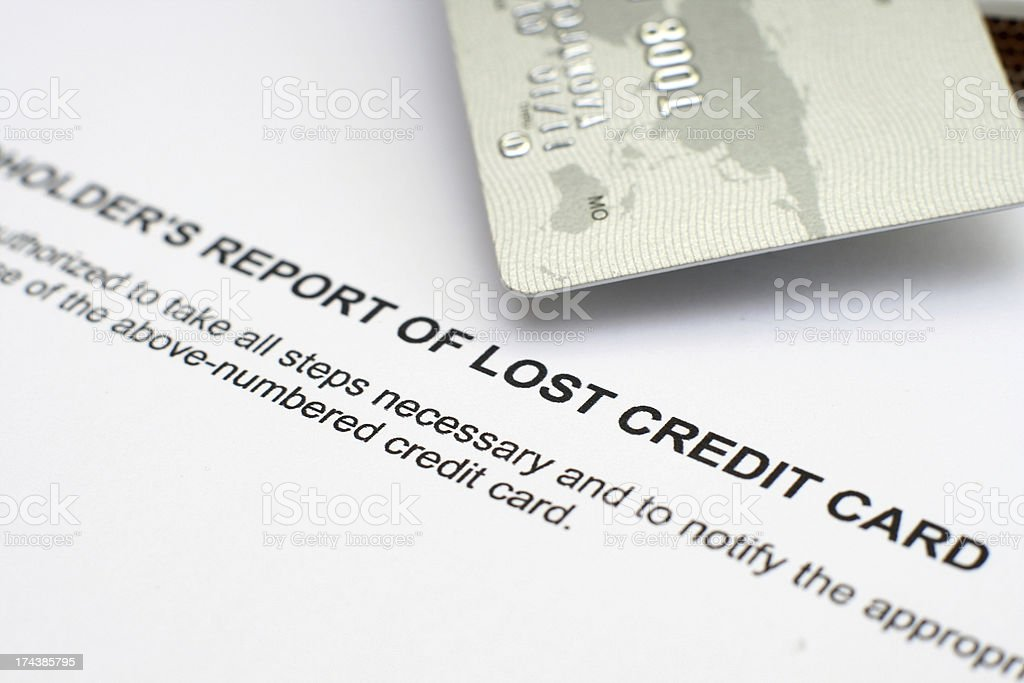 Report of lost credit card stock photo