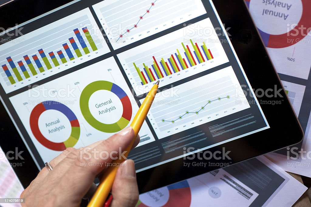 Report on tablet stock photo