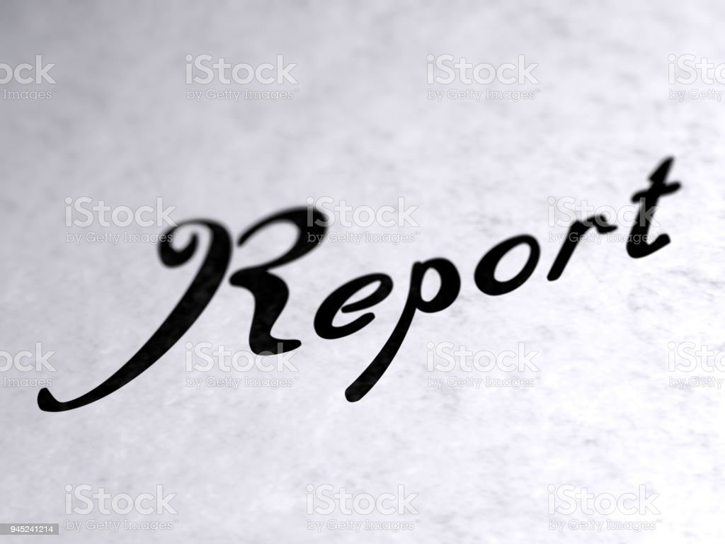 'Report' on the page. stock photo