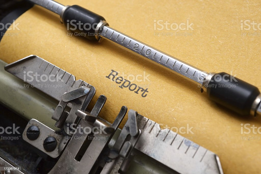 Report on typewriter royalty-free stock photo