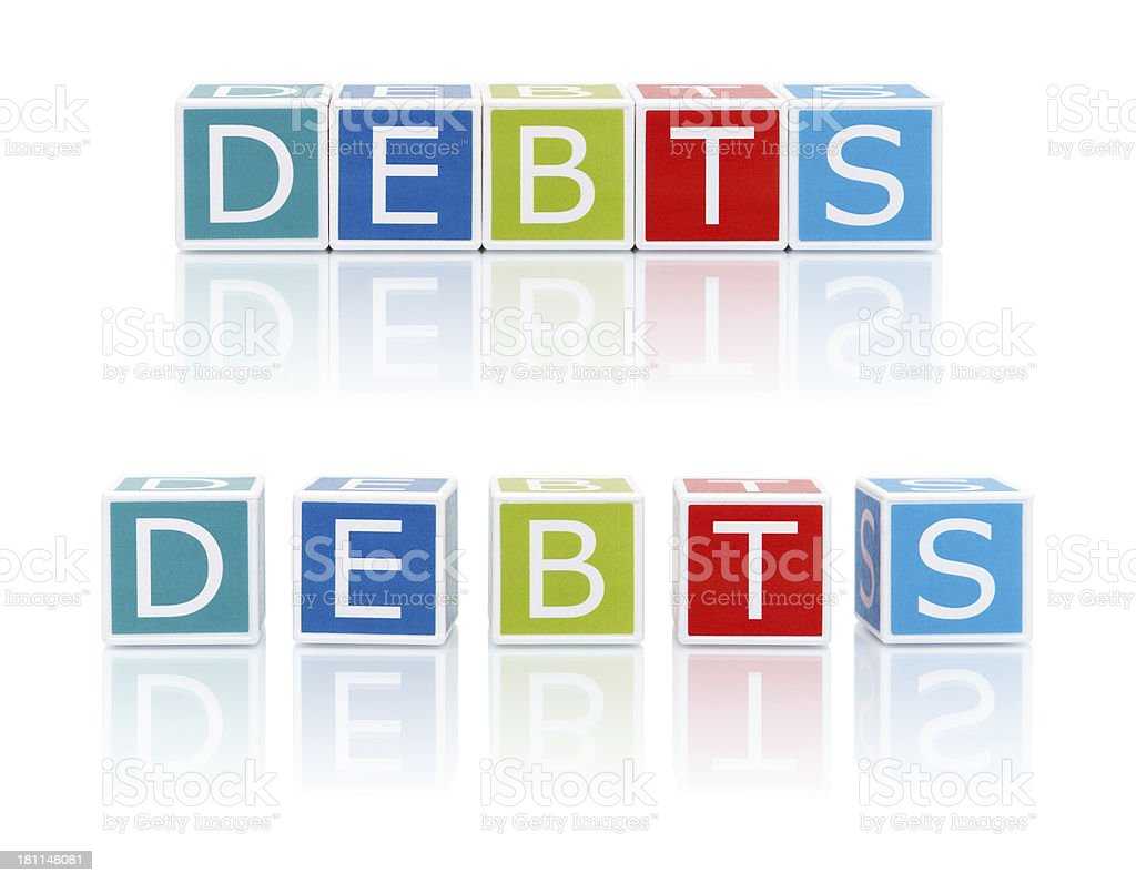 Report Topics With Color Blocks. Debts. royalty-free stock photo