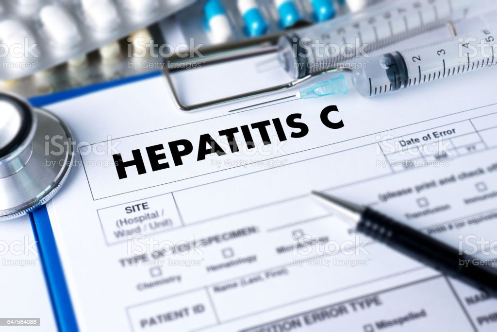 HEPATITIS C   Report with Composition of Medicaments   Medical  Doctor concept stock photo