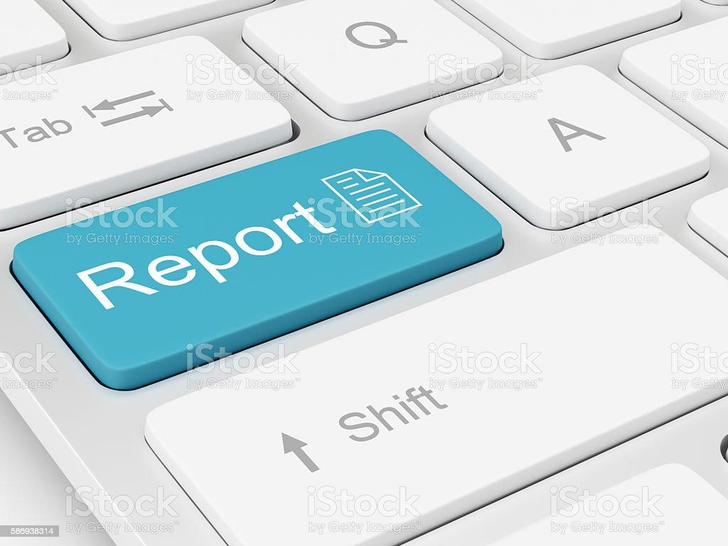 Report written on keyboard key stock photo