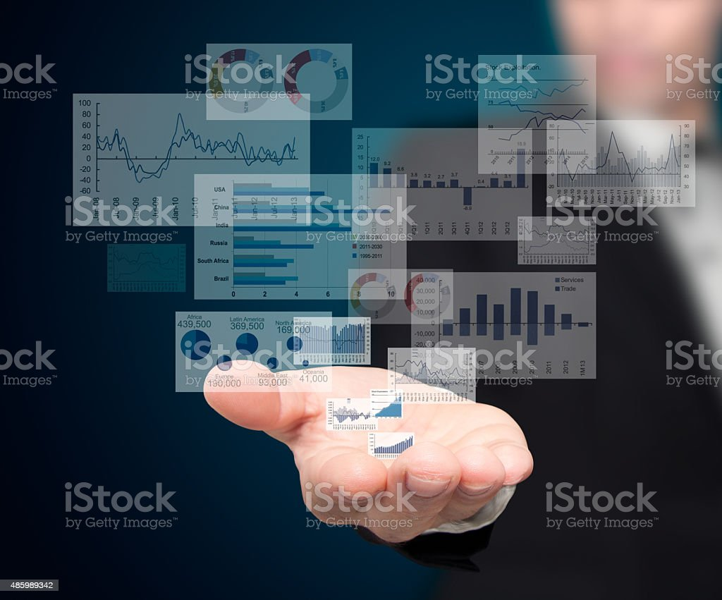 Reported profits on hands. stock photo