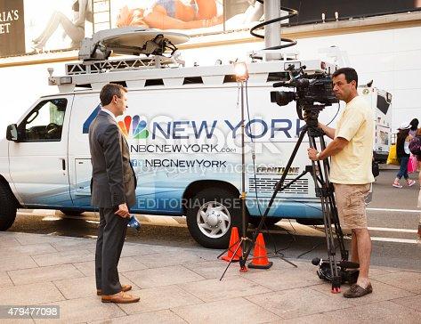 istock NBC Reporter and Camera Man with News Van 479477098