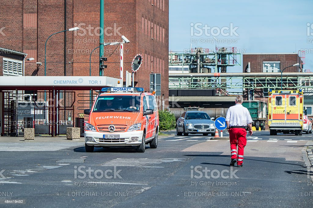 Reporter arriving short after the explosion at Chempark Uerdingen stock photo
