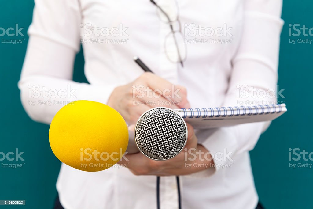 Female reporter or journalist at news conference, writing notes,...