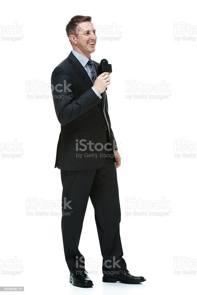 Reporter reporting stock photo