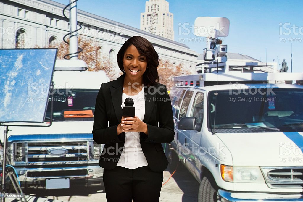 Reporter reporting stock photo