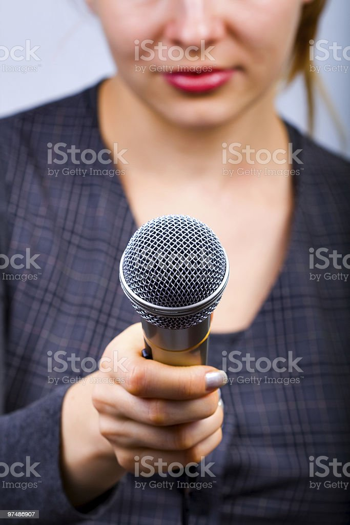 Reporter taking interview or opinion poll royalty-free stock photo