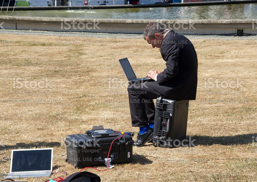 Reporter with Laptop stock photo