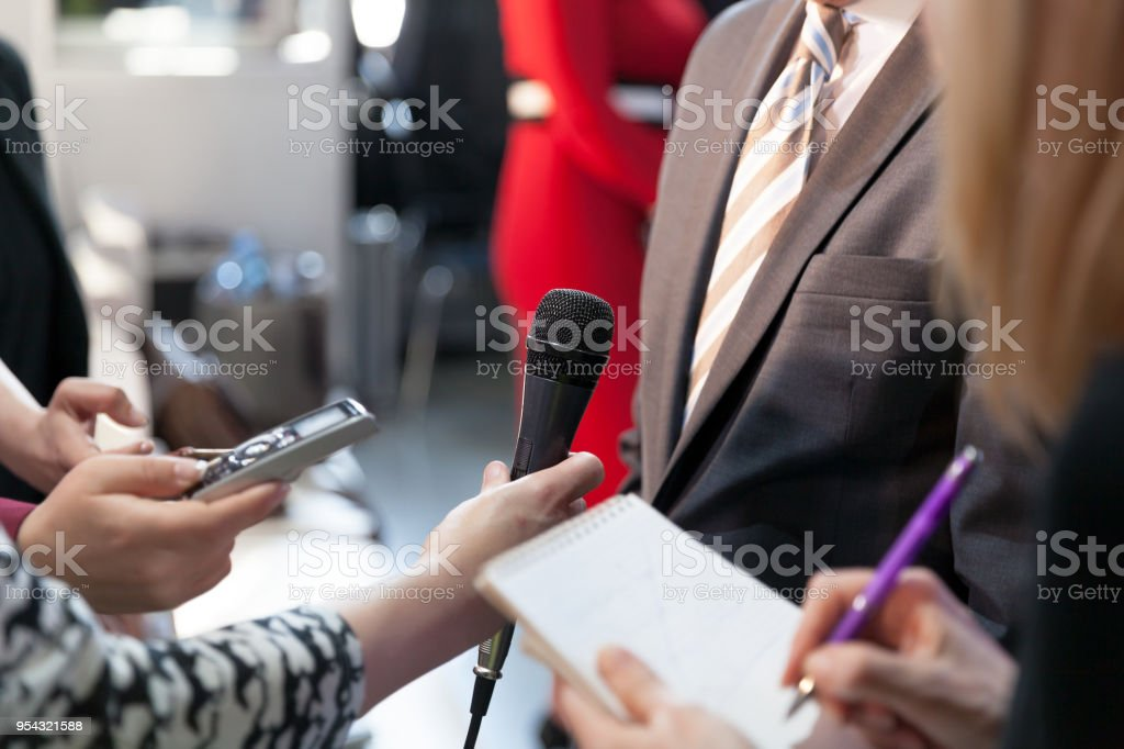 Reporters at work stock photo