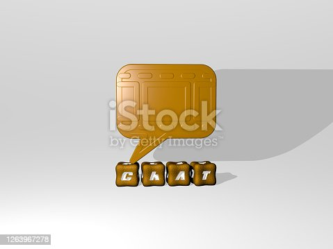 istock 3D representation of chat with icon on the wall and text arranged by metallic cubic letters on a mirror floor for concept meaning and slideshow presentation. illustration and communication 1263967278
