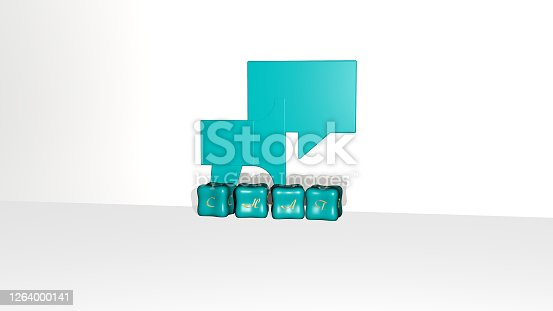 istock 3D representation of chat with icon on the wall and text arranged by metallic cubic letters on a mirror floor for concept meaning and slideshow presentation. illustration and communication 1264000141