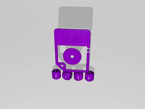 壁にアイコンを持つfileの3d表現とコンセプトの意味とスライドショーのプレゼンテーションのために鏡床に金属立方文字で配置されたテキスト。イラストと背景 - business icon eps ストックフォトと画像