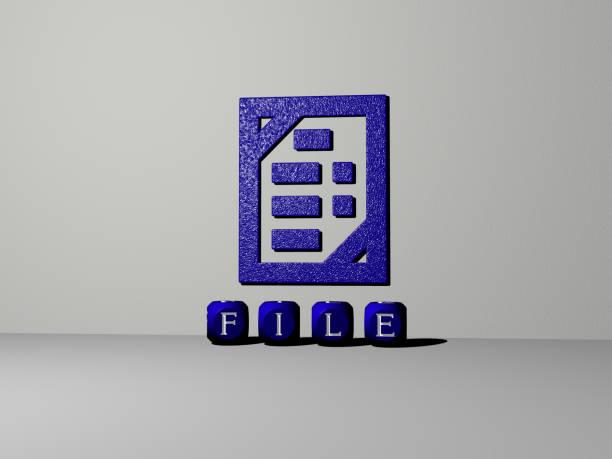 コンセプトの意味とスライドショーのプレゼンテーションのために鏡床に金属立方文字で配置された壁とテキスト上のアイコンとファイルの3d表現。イラストと背景 - business icon eps ストックフォトと画像