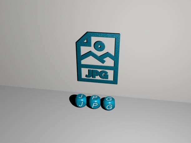 コンセプトの意味とスライドショーのプレゼンテーションのために鏡床に金属立方文字で配置された壁とテキスト上のアイコンとjpgの3d表現。イラストと背景 - business icon eps ストックフォトと画像