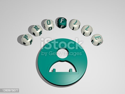 istock 3D representation of PROFILE with icon on the wall and text arranged by metallic cubic letters on a mirror floor for concept meaning and slideshow presentation. illustration and background 1263975077