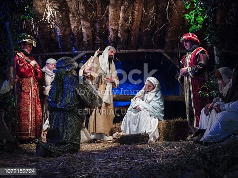 Villaga, Italy - December 30, 2017: Representation of the nativity recreating the famous paintings of Giotto and Caravaggio.