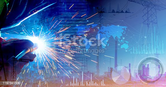 973144806 istock photo Representation of the robotic production of the future. Control of work parameters using the Internet of things. Successful automation of the welding process 1197341330