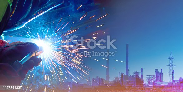 973144806 istock photo Representation of the robotic production of the future. Control of work parameters using the Internet of things. Successful automation of the welding process 1197341337