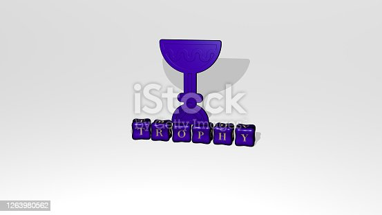 istock 3D representation of TROPHY with icon on the wall and text arranged by metallic cubic letters on a mirror floor for concept meaning and slideshow presentation. illustration and award 1263980562