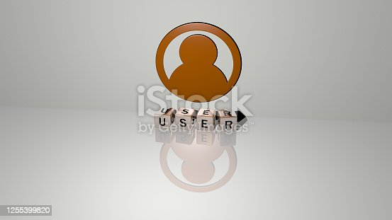 istock 3D representation of USER with icon on the wall and text arranged by metallic cubic letters on a mirror floor for concept meaning and slideshow presentation. illustration and interface 1255399820