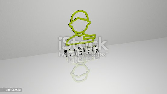 istock 3D representation of user with icon on the wall and text arranged by metallic cubic letters on a mirror floor for concept meaning and slideshow presentation. illustration and interface 1255400345
