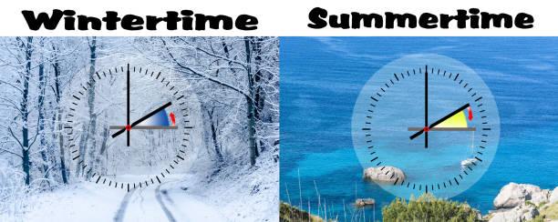 darstellung der winterzeit gegen sommerzeit, - weltzeituhr stock-fotos und bilder