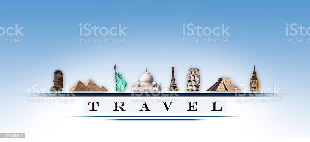 Representation online travel monuments stock photo