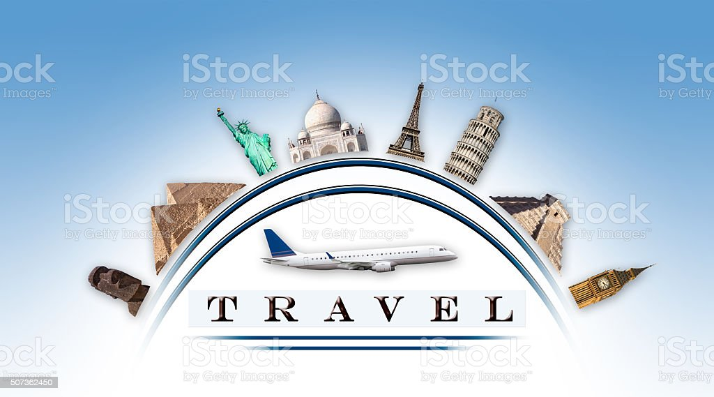 Representation travel with curved monuments stock photo