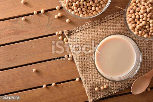 887350996 istock photo Reptientes with soy milk and grains  top view 945475228
