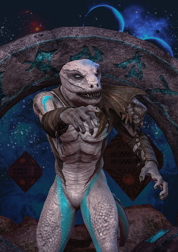 A portrait of an albino reptilian with an unknown space portal behind him.
