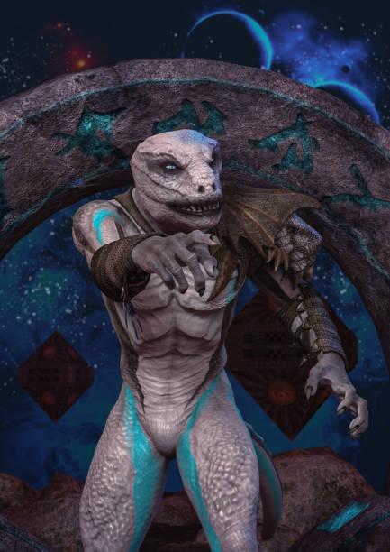 A reptilian and a space portal stock photo