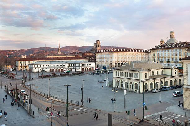 Repubblica square, Porta Palazzo market, the largest in Europe stock photo
