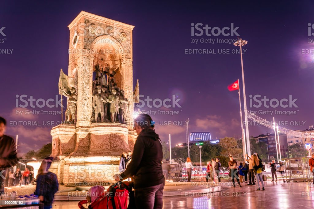 Republic Monument on Taksim square in Istanbul - Royalty-free Activity Stock Photo