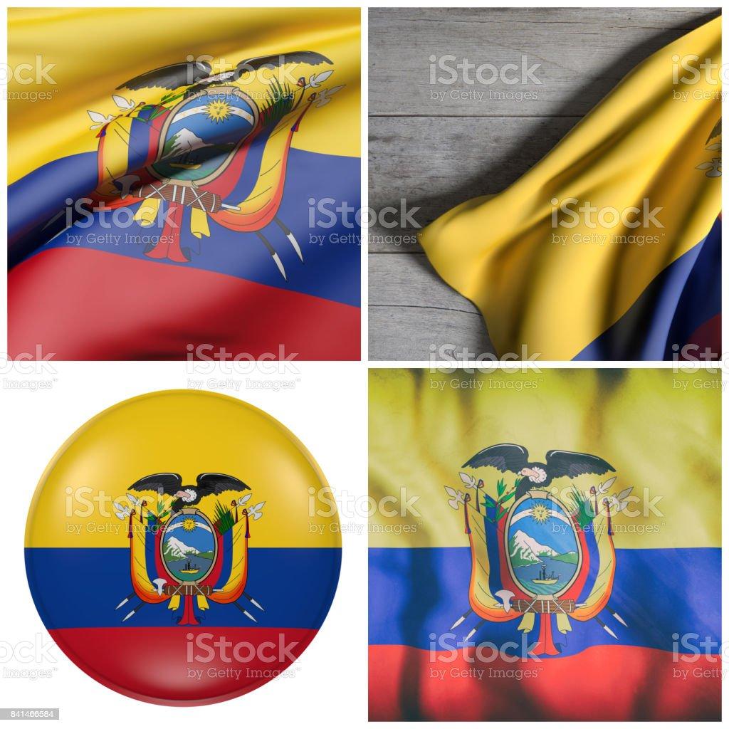 Bandera de la República de Ecuador saludar con la mano - foto de stock