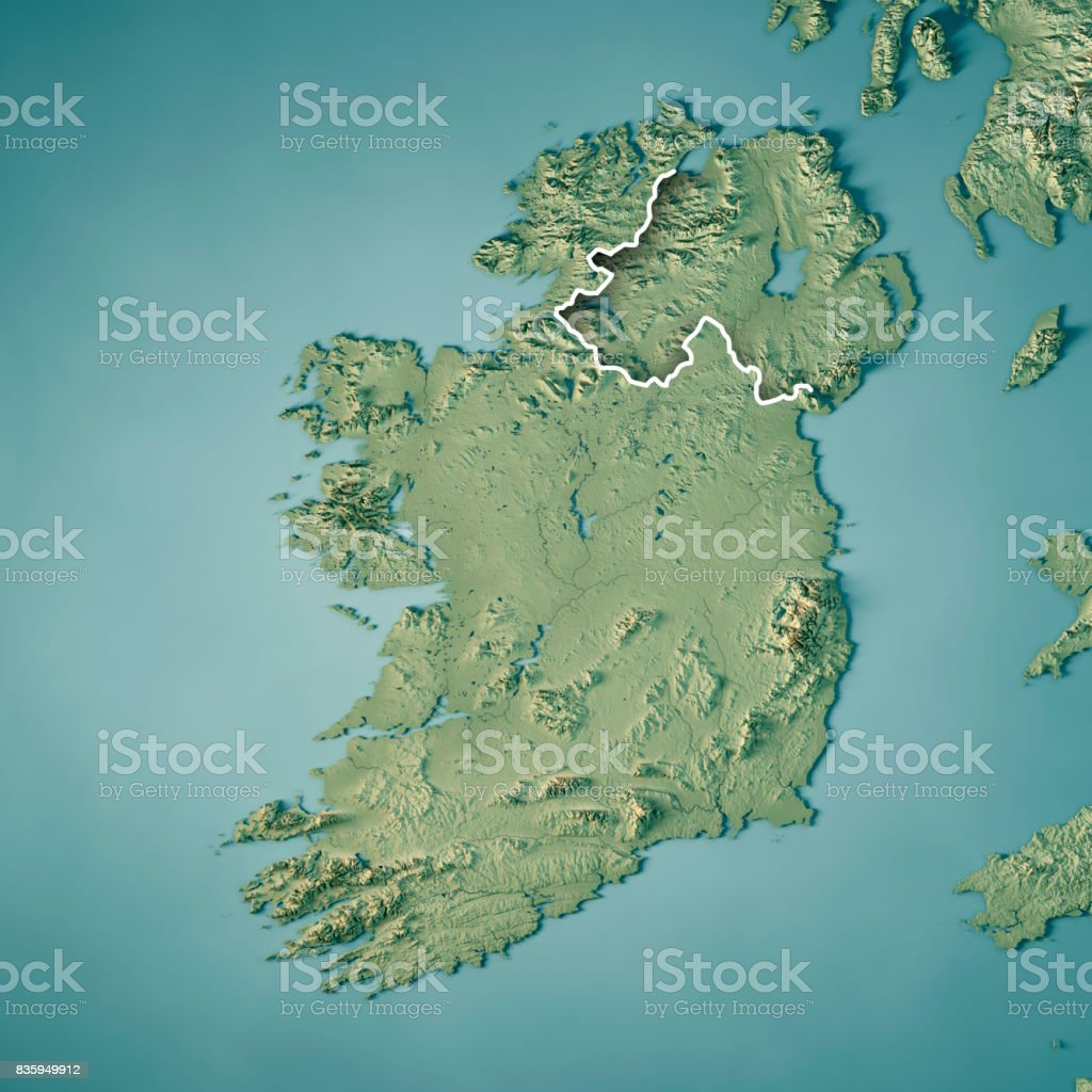 Country Of Ireland Map.Republic Of Ireland Country 3d Render Topographic Map Border Stock