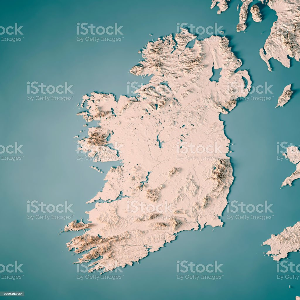 Map Of Ireland 3d.Republic Of Ireland Country 3d Render Topographic Map Neutral Stock