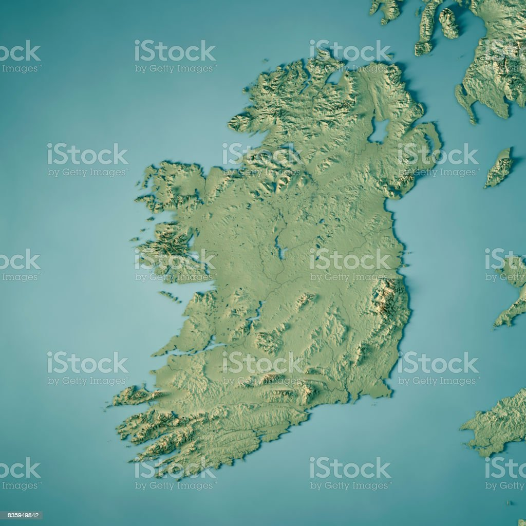 republic of ireland country 3d render topographic map royalty free stock photo