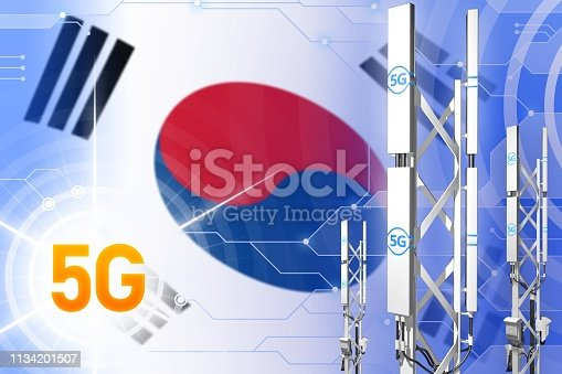 istock Republic of Korea (South Korea) 5G industrial illustration, large cellular network mast or tower on modern background with the flag - 3D Illustration 1134201507