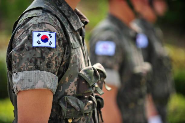 韓国軍の兵士と韓国の国旗の太極旗 - 韓国 ストックフォトと画像