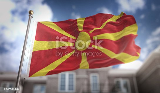 1056280906istockphoto Republic of Macedonia Flag 3D Rendering on Blue Sky Building Background 669251066