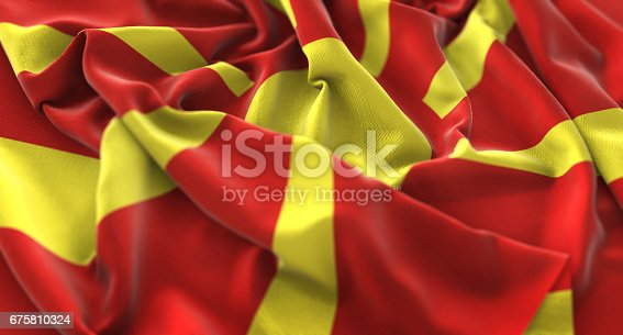 686175420 istock photo Republic of Macedonia Flag Ruffled Beautifully Waving Macro Close-Up Shot 675810324