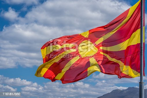686175420 istock photo Republic of Macedonia  national flag 1161817332