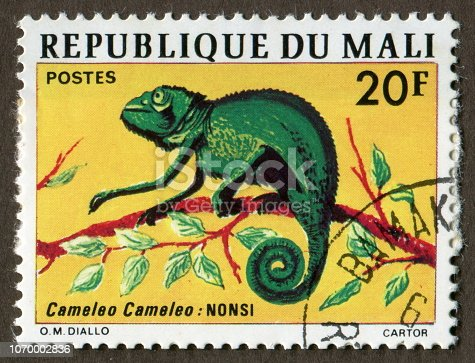 Republic of Mali stamps: Chameleon, a type of reptile.