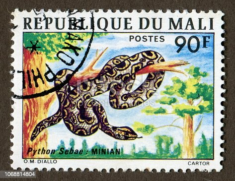 Republic of Mali stamps: Python sebae, Africa's largest snake, living in southern Africa.