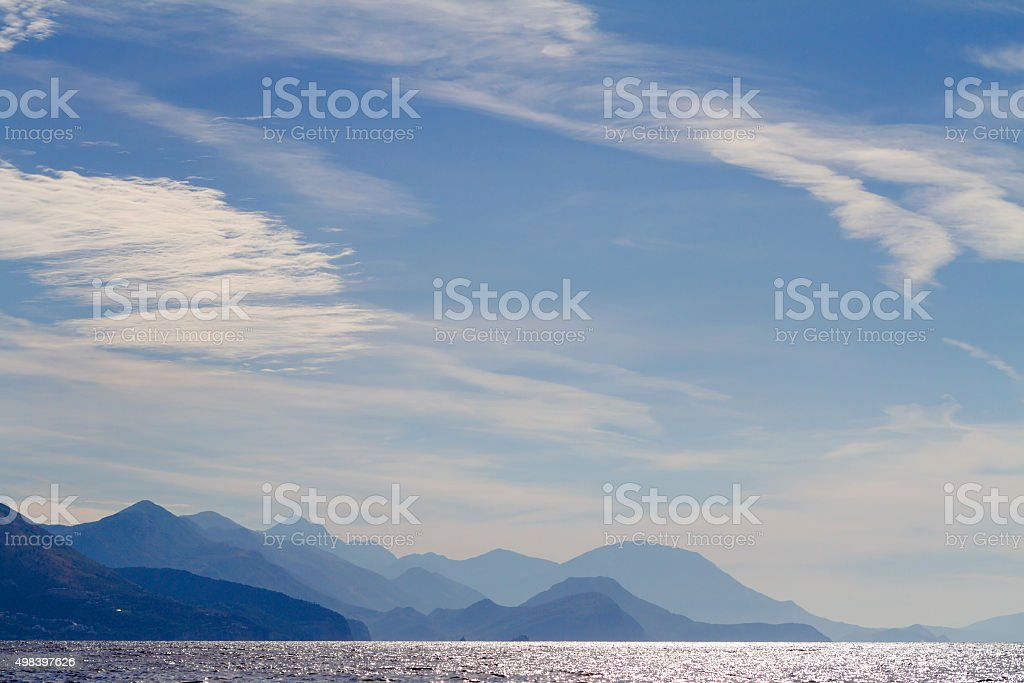 Republic of Montenegro. Sea, mountains and clouds in the sky. stock photo