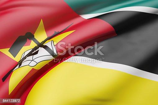 istock Republic of Mozambique flag waving 544123972